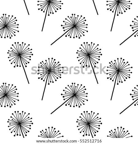 Black On White Dandelion Vector Seamless Pattern Endless For Wallpaper Fills