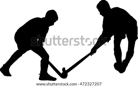Black on white silhouette of boy hockey players battling for possession of ball
