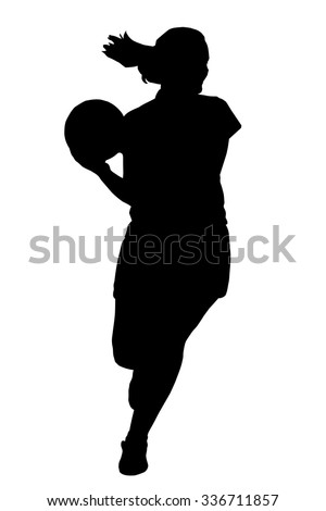 Black on white silhouette of korfball ladies league player girl running with ball