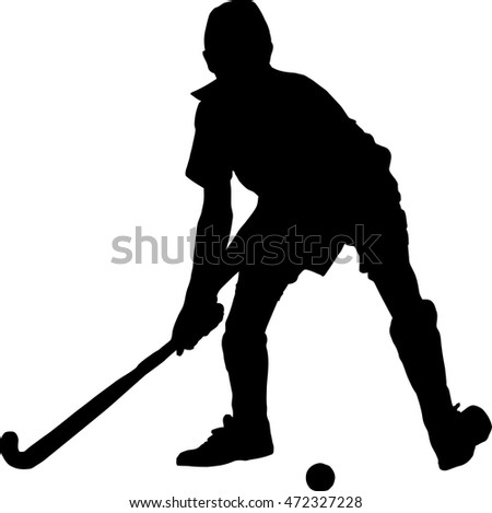 Black on white silhouette of school boy hockey player hitting ball
