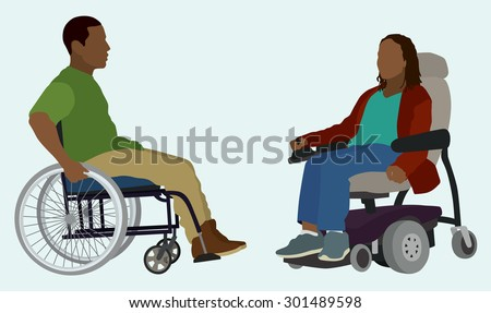 Black or African American Man and Woman in Wheelchair - stock vector