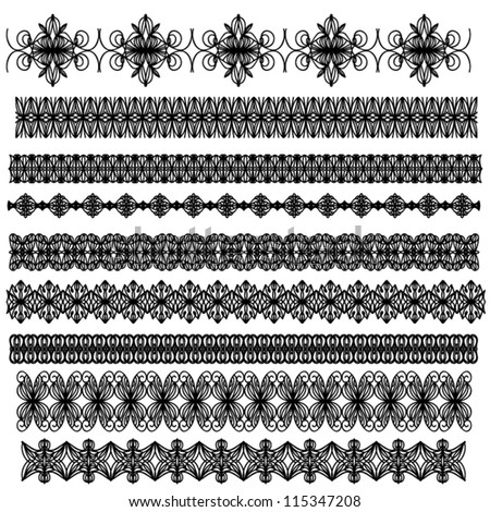 Black ornamental vector trim collection