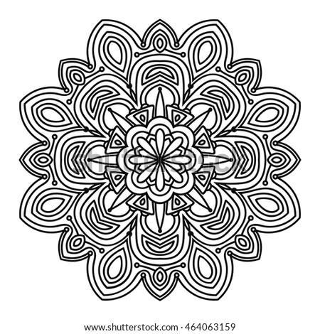 Black Outline Flower Mandala For Coloring Book Decorative Round Ornament Anti Stress Therapy