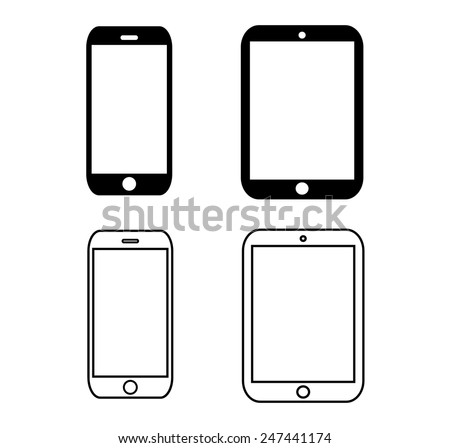 black outline gadget  icon set.vector illustration eps 10 - stock vector