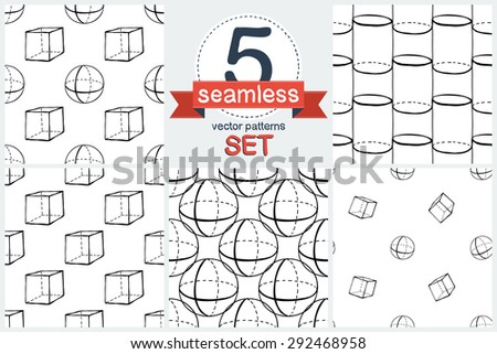 Black outline hand drawn vector cube and sphere seamless patter. Set of 5 vector seamless pattern. Cute doodle modern school education geometric isolated elements.  - stock vector