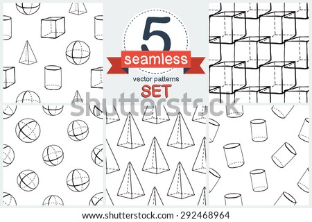 Black outline hand drawn vector cube, pyramid, cylinder, sphere seamless patter. Cute doodle modern school education geometric isolated elements - stock vector