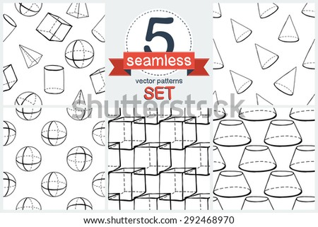 Black outline hand drawn vector cube, pyramid, cylinder, sphere seamless patter. Set of 5 vector seamless pattern. Cute doodle modern school education geometric isolated elements - stock vector