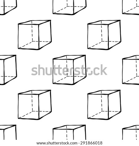 Black outline hand drawn vector cube seamless pattern. Cute doodle modern school education geometric isolated elements - stock vector