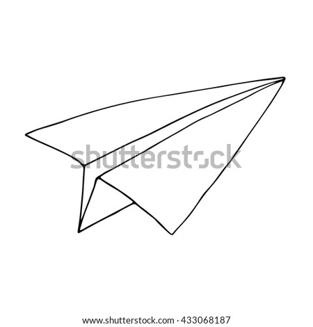 Black outline of paper plane element, hand drawn in vector