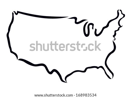 black outline of USA map - stock vector