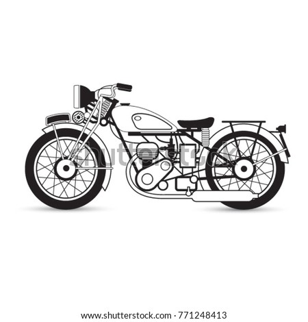 Black Outline Old Motorcyclevector Drawing 771248413