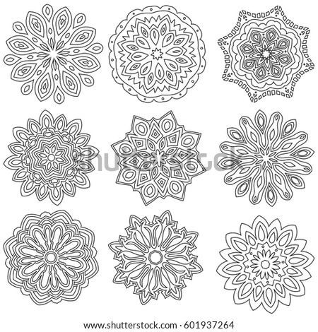 Black outline ornament collection over white background