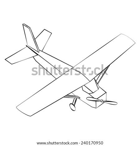 Black outline vector airplane on white background.