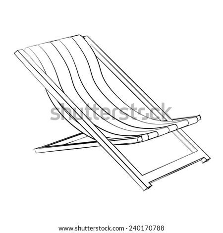 Black outline vector Beach bed on white background. - stock vector