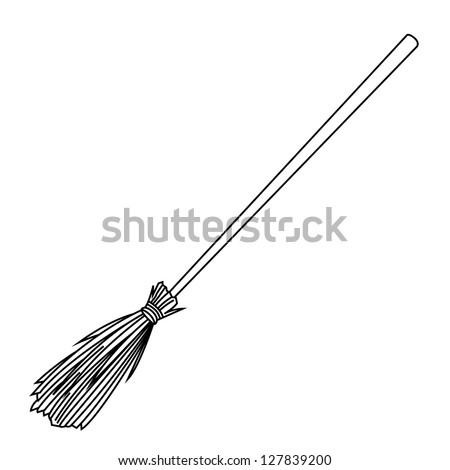 Black outline vector broom on white background. - stock vector