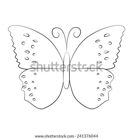 Black outline vector Butterfly on white background. - stock vector