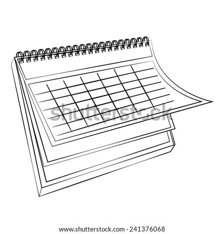 Black outline vector Calendar on white background. - stock vector