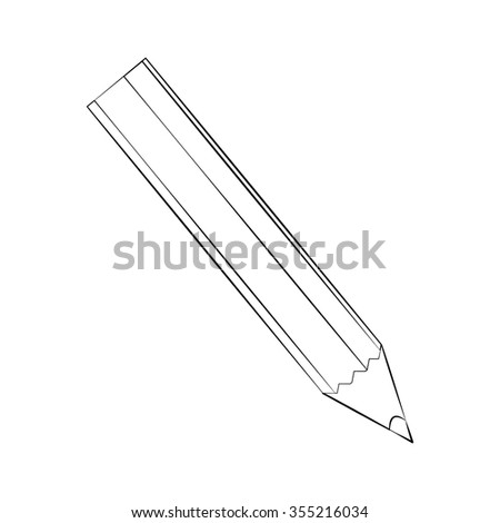 Black outline vector color pencil on white background. - stock vector