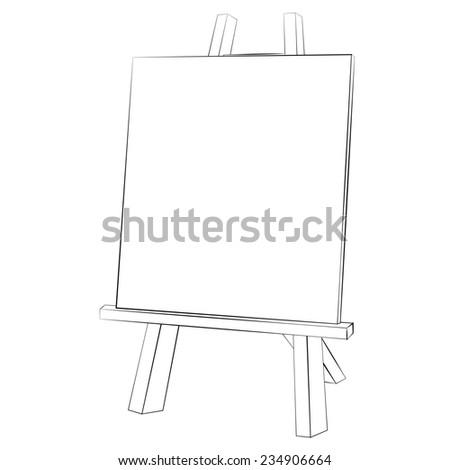 Black outline vector easel painting on white background. - stock vector