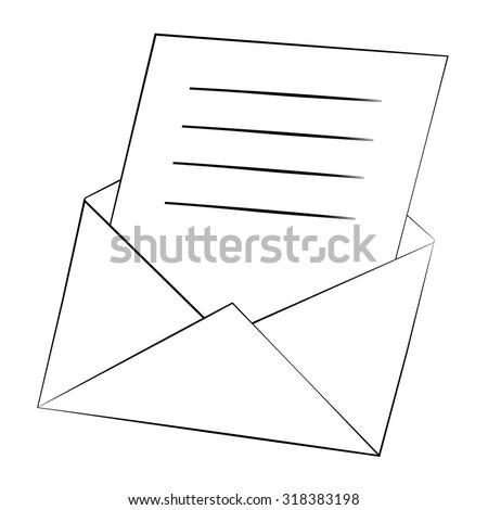 Black outline vector envelopes on white background. - stock vector