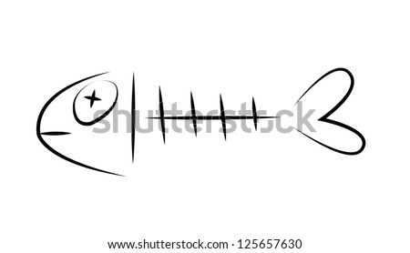Black outline vector fishbone on white background. - stock vector