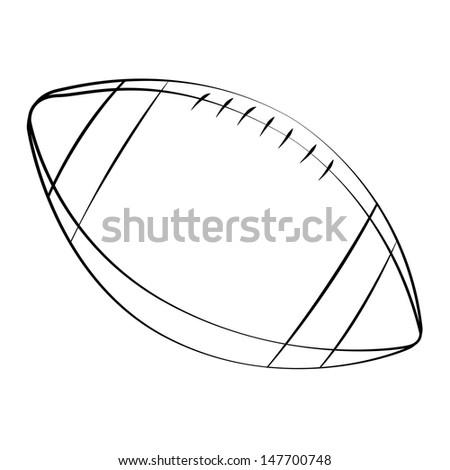 Black outline vector football on white background. - stock vector