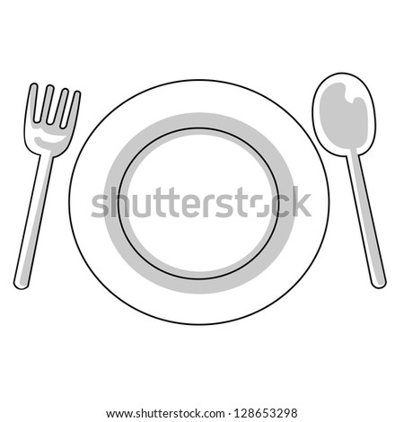 Black outline vector fork plate spoon on white background.