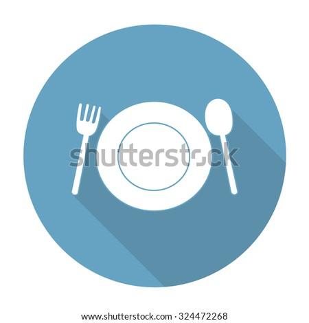 Black outline vector fork plate spoon on white background. - stock vector