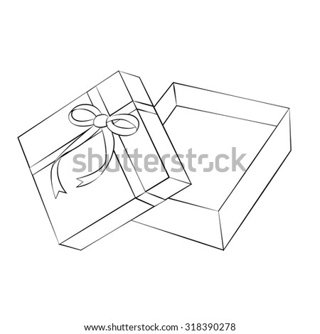 Black outline vector gift box on white background.
