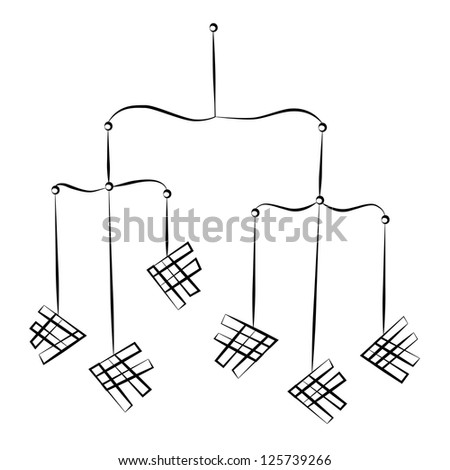 black outline vector hanging mobile on stock vector