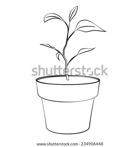 Black outline vector jardiniere on white background. - stock vector