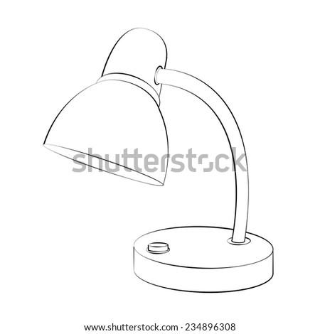 Black outline vector lamp on white background. - stock vector