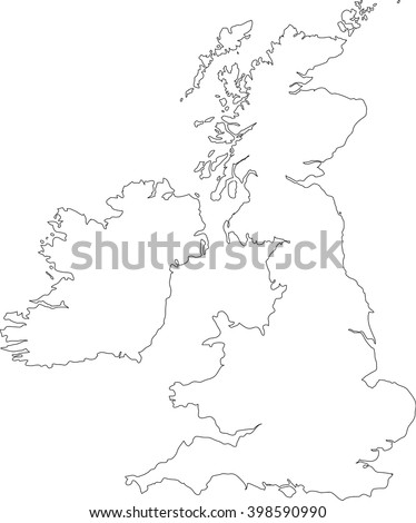 Black outline vector map of The British Isles illustration including England, Scotland, Wales & Ireland.
