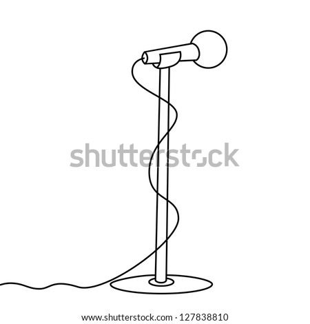 Microphone With Stand Drawing microphone and stand on