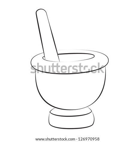 Black outline vector mortar and pestle on white background. - stock vector