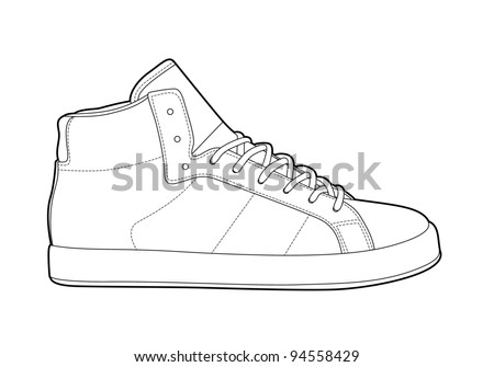 Black outline vector shoes on white background - stock vector