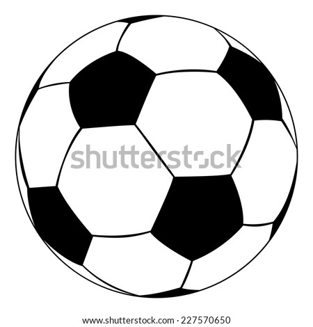Black outline vector soccer ball on white background.
