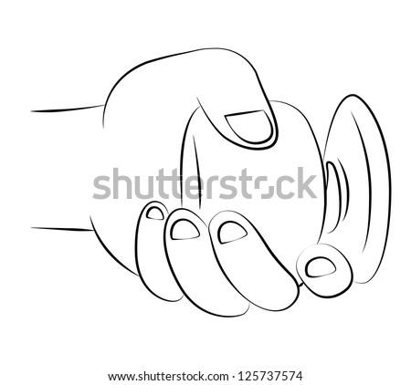 Black outline vector twist door knob on white background. - stock vector