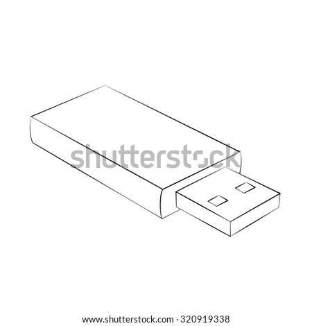 Black outline vector USB on white background. - stock vector