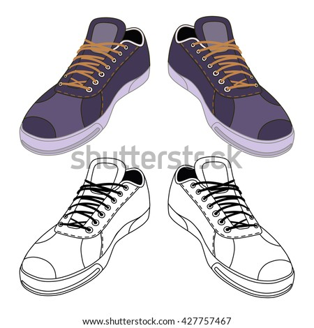 Black outlined & colored sneakers shoes pair front view, vector illustration isolated on white background