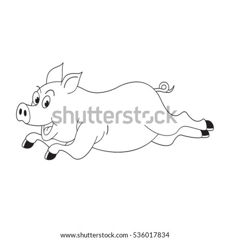 black outlined happy pig running vector drawing