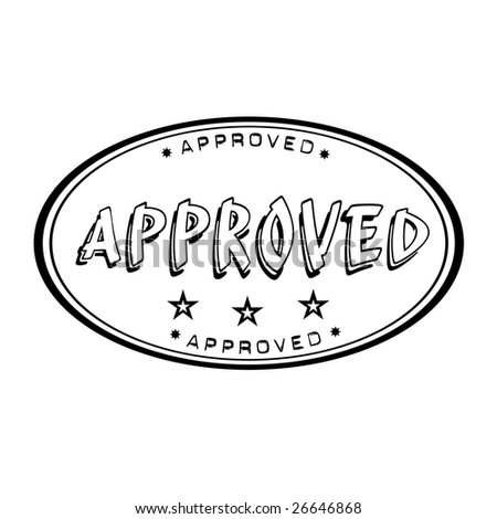Black oval office rubber stamp with small stars and the word approved written inside the stamp - stock vector