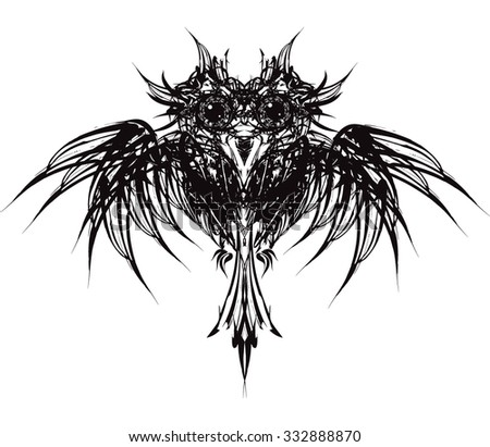 Black owl - stock vector