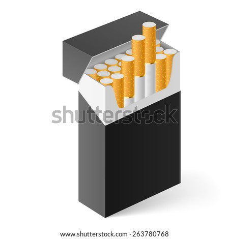 Black Pack of cigarettes isolated on white - stock vector