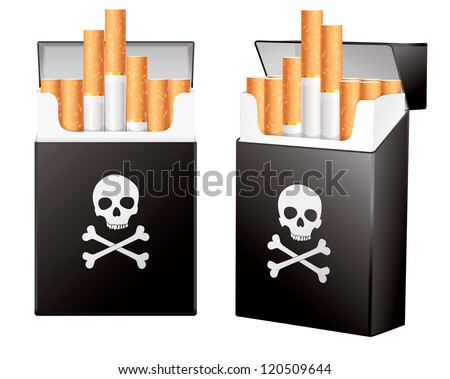 Black pack of cigarettes with the image of the Jolly Roger. On the dangers of smoking. Isolated on white background. Vector illustration eps 10 - stock vector