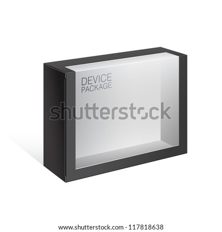 Black Package Cardboard Box with a transparent plastic window. For, electronic device, toys, games, Software and other products.Vector illustration - stock vector