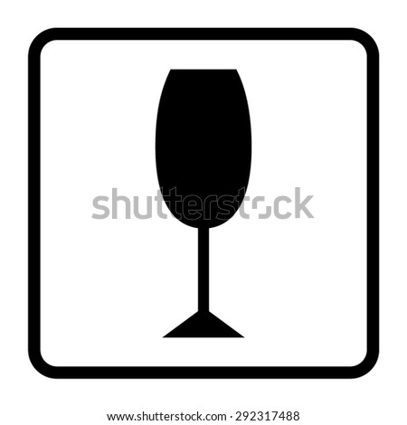 Black packaging symbol in a white square (Fragile icon). Fragile cardboard sign on a white background. Warning sign. Fragile glass symbol. Stock vector - stock vector