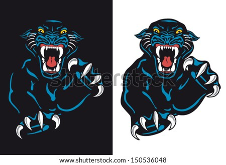 Black Panther Attack Isolated Vector Tattoo Flash with Background - stock vector