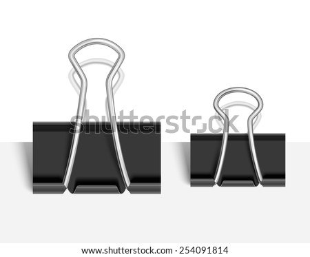 Black Paper clip isolated on white. Vector illustration - stock vector