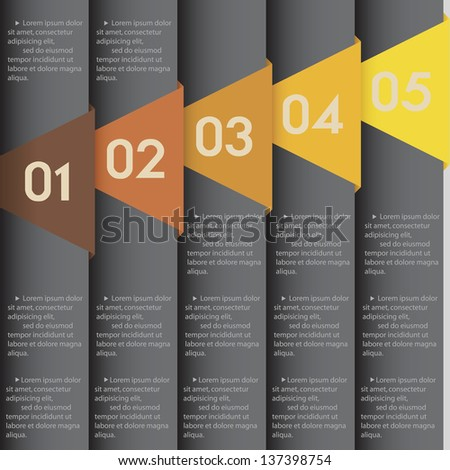black paper numbered banners. Vector design template